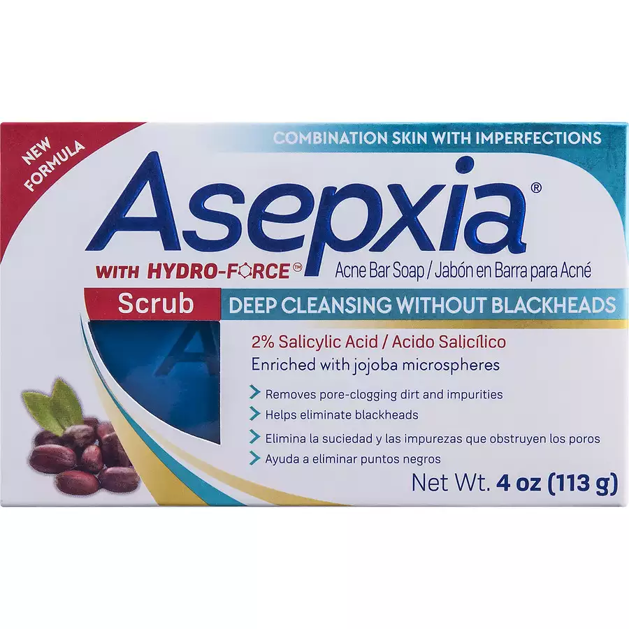 Asepxia Acne Bar Soap, Scrub Deep Cleansing Without Blackheads, Net Wt  4  Oz / 113 Gr